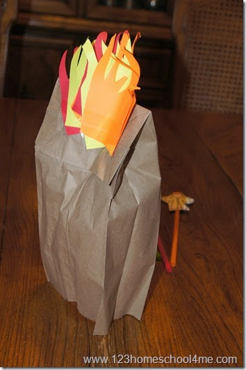 make flames out of paper or tissue paper