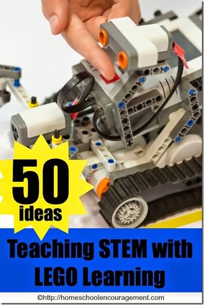 STEM - 50 ideas for teaching STEM with Lego Learning for homeschool, math, and science