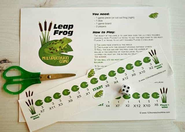 super cute, free printable Math Frog Multiplication game for 3rd grde, 4th grade, and 5th grade students to practice math while having fun