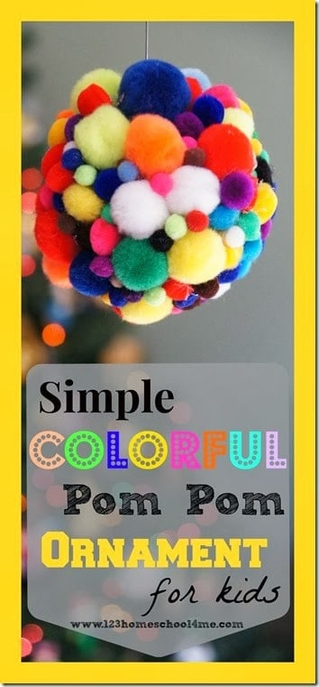 Kids of all ages will have fun making this fun pom pom Christmas ornament. This easy pom poms craft is perfect for December as your children are getting ready to celebrate the holidays or as a kid made Christmas gift. Toddler, preschool, pre-k, kindergarten, and first grade students will love making thesePom Pom ornaments. All you need are a few simple craft supplies and you are ready to make your owneasy ornament craft.