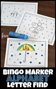 FREE printable bingo marker alphabet letter find