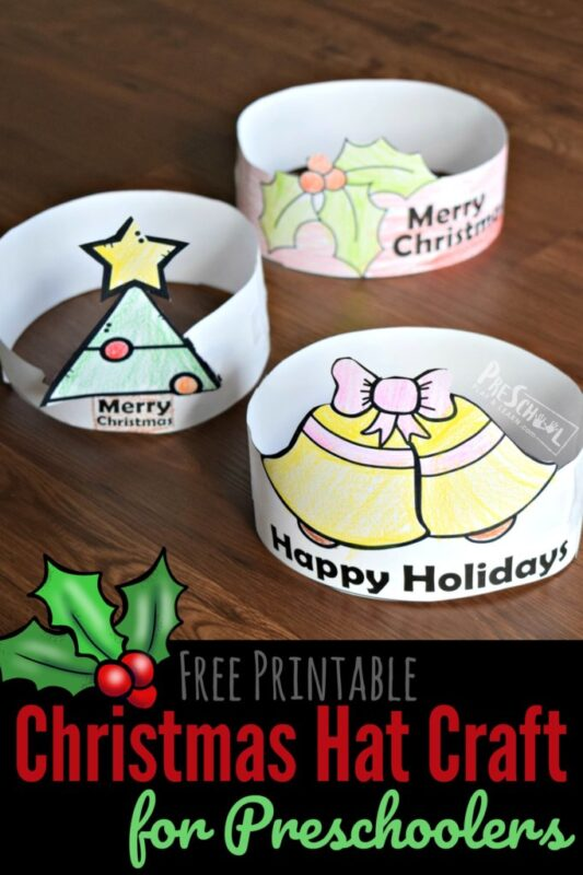 Super cute, free christmas hat craft for kids