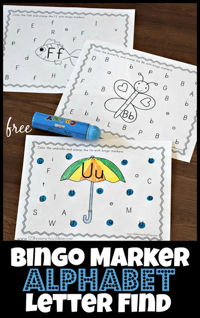 image about Letter Bingo Printable identified as Cost-free Bingo Marker Alphabet Letter Identify 123 Homeschool 4 Me