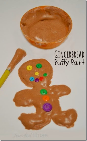 Christmas Kids Activity - Kids will love making Christmas Crafts with this wonderfully scented Gingerbread Puffy Paint Recipe! This recipe for play is perfect for Toddler, Preschool, Kindergarten, and older age children during the month of December.