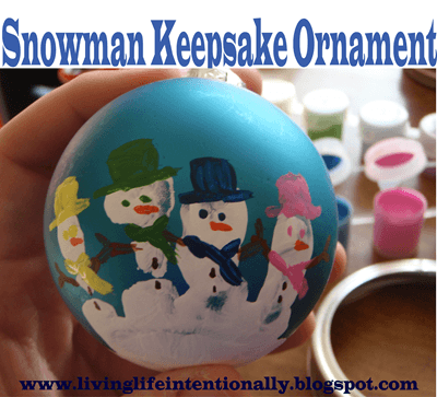 snowman keepsake handprint ornament