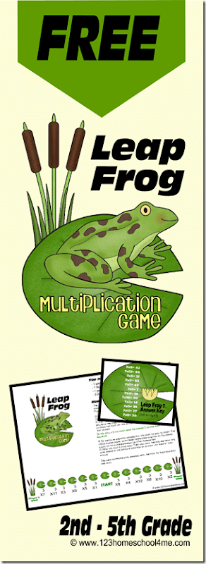 Cool Math Games - FREE Leapfrog Multiplication Math Games helps kids practice multiplying by 1s-12s in a fun game. This free printable game is perfect for 2nd, 3rd, 4th, 5th, and 6th grade students. Perfect for homeschooling kids. #mathgame #skipcounting #multiplication