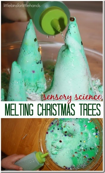 Christmas Science Experiments for Kids - melting christmas tree is such a fun, silly kids activities for toddler, preschool, and kindergarten age kids.