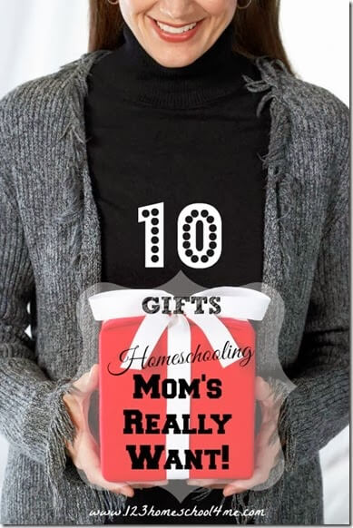 10 Gifts Homeschooling Moms really want! Here are 10 great ideas that homeschool moms will appreciate - the perfect present!