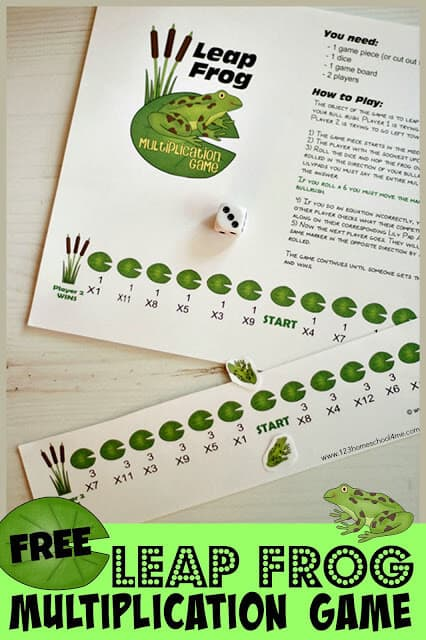 FREE Frog Multiplication Game - free printable math game makes practicing multiplication fun for 3rd grade, 4th grade, and 5th grade students. This 1-2 player game makes practicing skip counting fun! #mathgames #multiplication #mathisfun