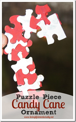 puzzle piece candy cane ornament