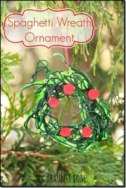Spaghetti Christmas Ornament Craft for Kids! This is a super fun to make Christmas craft for kids from toddler, preschool, kindergarten and older.