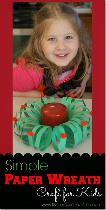 EASY Paper Wreath Craft for Kids - This is such a fun, simple to make Christmas craft. I can see Preschool, Kindergarten and early elementary kids really having fun with this one! #christmascrafts #christmasactivities #easycrafts