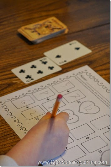 Deck of Cards Math - Addition for 1st grade and 2nd grade kids