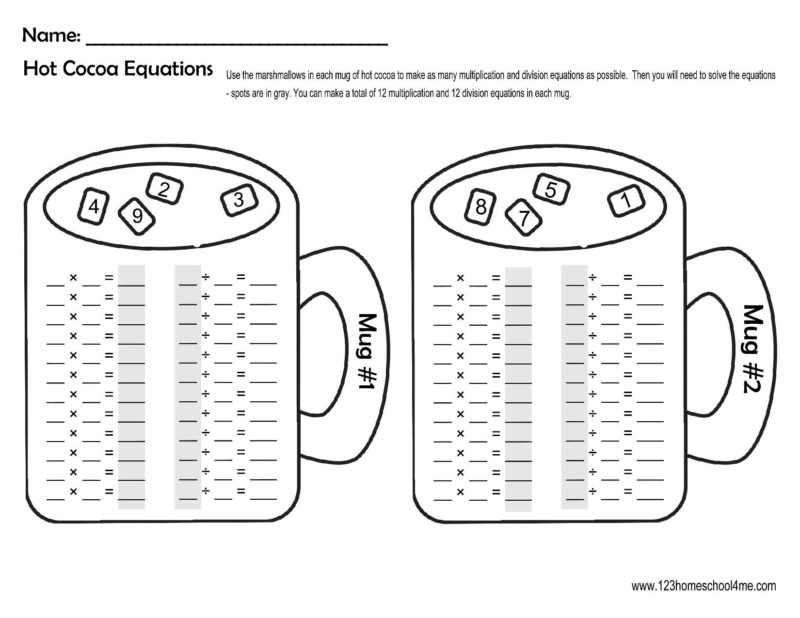 FREE Winter Hot Chocolate Multiplication And Division Fact Family Math  Worksheets