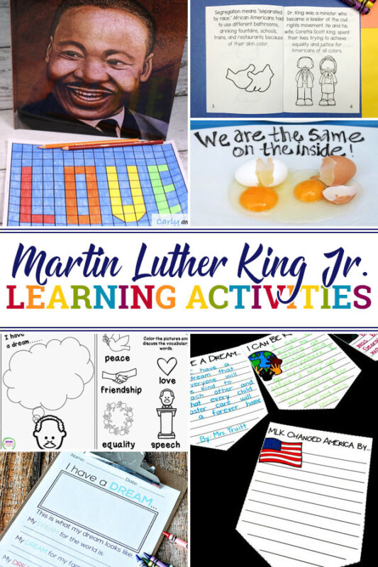 Martin Luther King Activities for preschool, kindergarten, first grade, 2nd grade and 3rd grade students