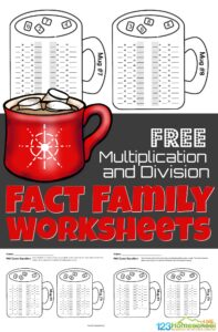 Make practicing multiplication and division fun with these free winter math worksheets for 2nd graders, 3rd graders, and 4th graders. Thiswinter math has fun hot chocolate theme printables to help students work onMultiplication and division fact family.Simply download pdf file withfact family worksheets and make practicing math fun this December, January, and February.