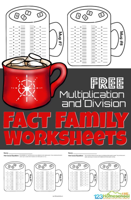 Make practicing multiplication and division fun with these free winter math worksheets for 2nd graders, 3rd graders, and 4th graders. This winter math has fun hot chocolate theme printables to help students work on Multiplication and division fact family. Simply download pdf file with fact family worksheets and make practicing math fun this December, January, and February.
