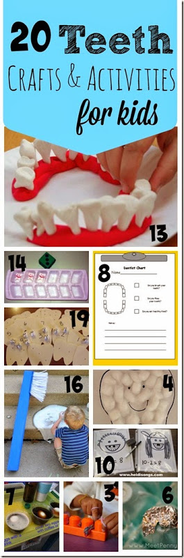 20 Teeth Crafts and Activities for Kids - There are lots of handon ideas for preschool and elementary kids perfect for Dental Health month in Febuary