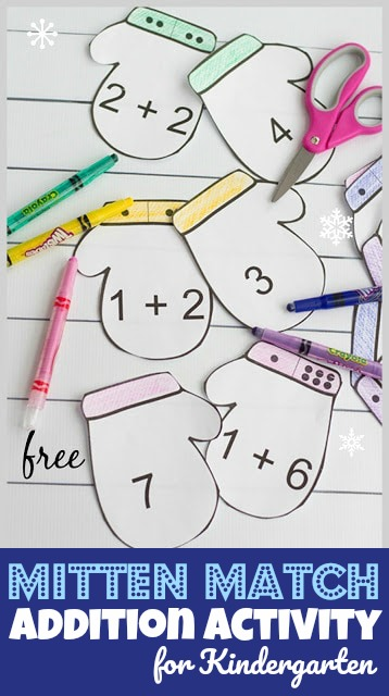 Make practicing addition fun with this super cute, free printable, mitten matching game. This winter math activity is perfect for pre-k and kindergarten age children who are looking for a fun book based the mitten activities. Add this addition activity for kindergarten to your winter theme to sneak a fun math activity for kindergartners. Simply download pdf file with free mitten printable for an easy-to-use, lots of fun, with lots of options for using it.