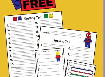 FREE Lego Spelling Tests in color