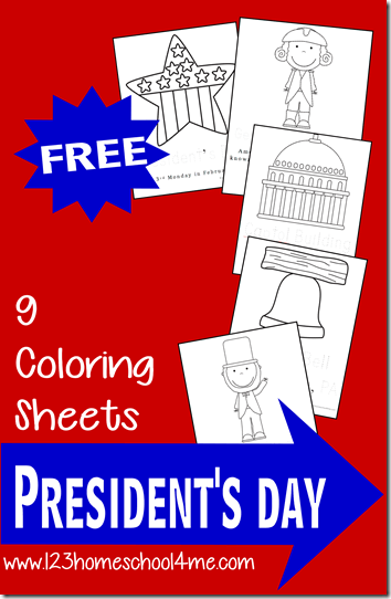 FREE President's Day Coloring Pages for Kids!! These are fun for Toddler, Preschool, and Kindergarten kids; also great for 4th of July