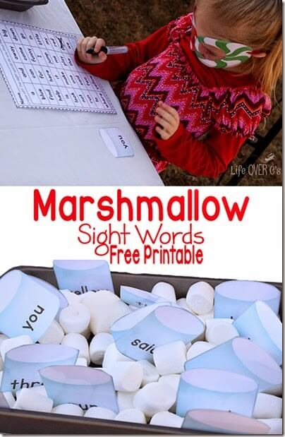 Sight Word Game using marshmallows; free printable for preschool and kindergarten