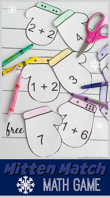 FREE Mitten Match Math Game - this is such a fun math activity for kids that makes practicing adding fun! This winter themed math practice is perfect for preschool, kindergarten as a center, extra practice, home preschool, and more.