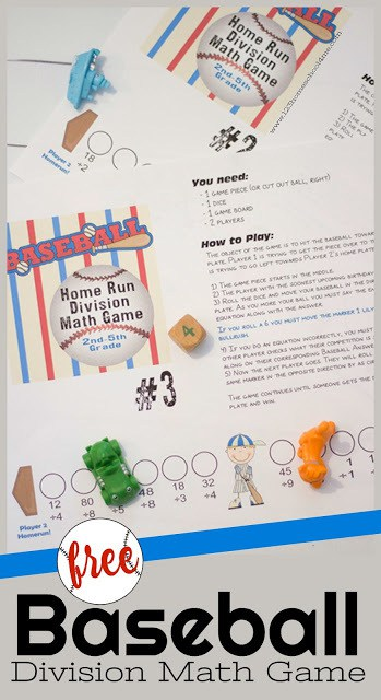 FREE Baseball printable division games - this fun, free printable math game makes practicing math fun for kids in 3rd grade, 4th grade, 5th grade, and 6th grade. Use this baseball themed math activity in a spring themed math center, as extra practice, or for some summer learning in grade 3, grade 4, grade 5, and grade 6. #division #mathgames #homeschool