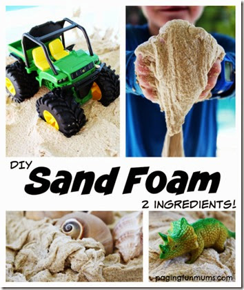 Recipe for Play - Make Sand Foam with just 2 ingredients. I can see toddler, preschool, and kindergarten kids really enjoying this sensory play kids activity.