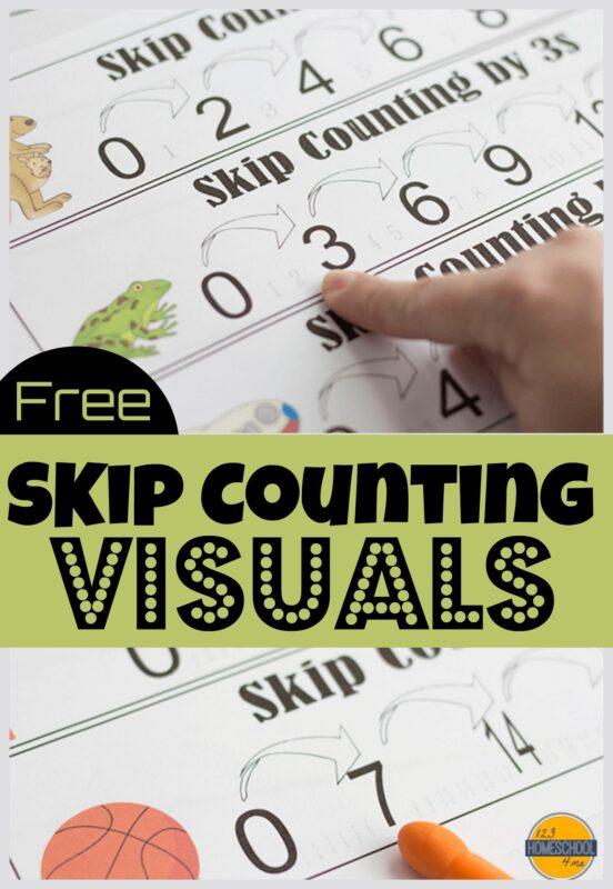 visualize what it means to skip count with these super cute skip counting anchor chart strips for students. These free printable skip counting visuals show cute animals skipping over numbers to count by 2s, count by 3s, count by 4s, count by 5s, count by 6s, count by 7s, count by 8s, count by 9s, and count by 10s. THis is a fun way to introduce skip counting for kids in a gentle math activity. Simply download pdf file with skip counting printables and you are ready to practice with kindergarten, first grade, 2nd grade, 3rd grade, and 4th grade students.