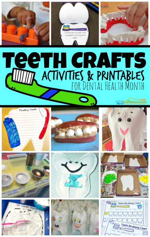 Celebrate dental health month for kids with these fun and creative dental crafts. We have lots of really clever ideas for toddler, pre-k, kindergarten, first grade, 2nd grade, and preschool dental crafts. Here are a whole bunch of fun, hands on teeth crafts and teeth activities for kids during February's Dental Health Month.
