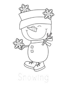 free printable winter coloring page with snowman and snowflakes