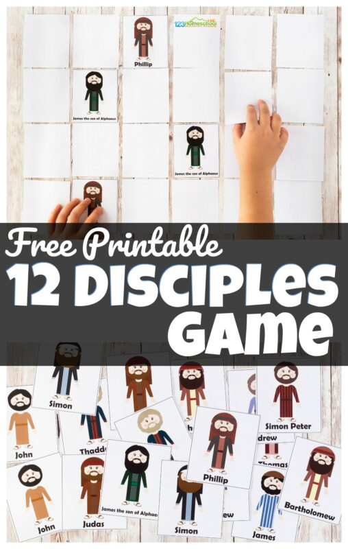 Help kids learn the names of the Jesus' twelve disciples in a fun, hands on 12 disciples game. This 12 disciples activities is perfect for teaching kids the Bible story about Jesus 12 disciples at home or as part of Sunday School Lessons for preschool, pre-k, kindergarten, first grade, 2nd grade, and 3rd grade students. Simply download pdf file with 12.disciples game and you are ready to play and learn!
