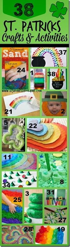 38 St. Patricks Day Crafts and Kids Activities! So many really fun clever ideas with leprechauns, clover, rainbows and more. These are great for Preschool, Kindergarten, and elementary age kids.