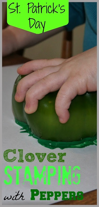 This simple and funst patrick's day crafts for toddlers has children use peppers for a hands on sensory painting activity in March. Use this st patrick's day activities for toddlers, preschoolers, and kindergartners.
