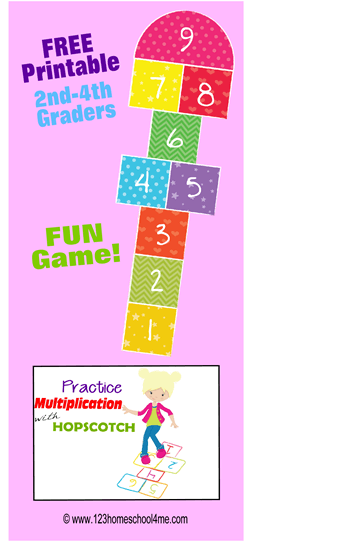 FREE Hopscotch Multiplication Game - free printable math game to practice Multiplication! This is perfect for 3rd grade, 4th grade, and 5th grade students. #multiplication #mathgames