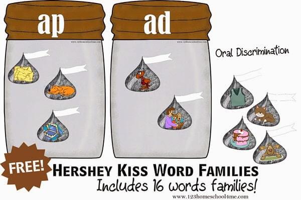 Hershey Kiss word Famlies ap and ad