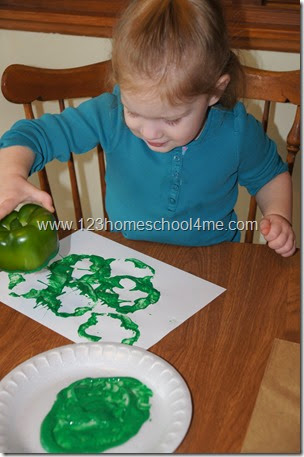 St. Patrick's Day Clover Stamping with Peppers