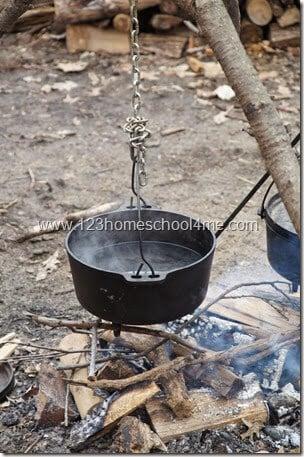 boiling maple sap down