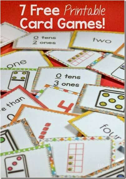7 Math Games to help kids in Preschool-2nd grade practice counting, numbers, and place value.