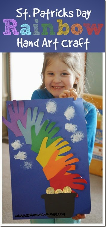 Kids will love making this pretty rainbow handprint craft to celebrate Saint Patrick's Day. This simple st patrick's day arts and crafts uses children's very own hands as the centerpiece for a precious, memorable keepsake. Kids from toddler, preschool, pre-k, kindergarten, first grade, and 2nd graders will enjoy making this easy pot of gold at the end of the rainbowst patrick's day crafts for toddlers. All you need are a few simple supplies you probably already have at home to welcome spring in March!