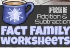 Kids will have fun practicing addition and subtraction with hot chocolate math. These free printable, fact family worksheets are an easy, no prep way for kindergarten, first grade, and 2nd grade students to practice addition and subtraction fact families. Simply download pdf file with theseaddition and subtraction worksheets and you are ready to get some needed practice this winter during December, January, and February.