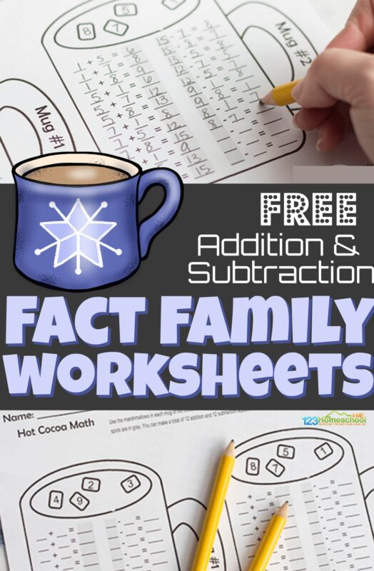 Kids will have fun practicing addition and subtraction with hot chocolate math. These free printable, fact family worksheets are an easy, no prep way for kindergarten, first grade, and 2nd grade students to practice addition and subtraction fact families.  Simply download pdf file with these addition and subtraction worksheets and you are ready to get some needed practice this winter during December, January, and February.