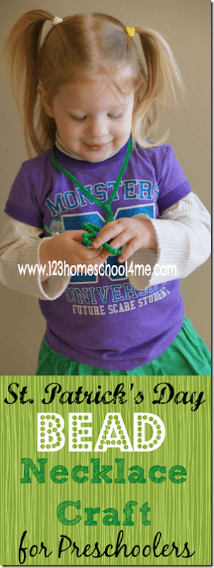 Help refine fine motor skills with your toddler, preschool, pre-k, and Kindergartners as you make this super cutesaint patrick's day crafts for toddlers. Children will work on pincer grasp and fine motor skills as they make a green shamrock bead necklace craft in March. Thisst patricks crafts for toddlers usese simple materials you probabaly already have on hand for a fun arts and craft project kids will love!