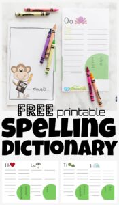 Help kids be better at spelling difficult words with this free spelling dictionary! Download the pdf file with the spelling dictionary for kids. Children will now have their own handy spelling printable to reference commonly misspelled words and add their own words to the word bank. This is a fantastic reference took to allow students to reference the spelling of words right at their fingertips. This spelling dictionary printable is super handy for first graders, 2nd graders, 3rd graders, 4th graders, and 5th grade students.