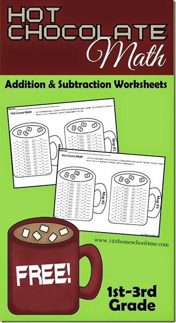 Hot Chocolate Math - Free printable math worksheets for kids in kindergarten, first grade, and 2nd grade. Great for math centers, extra math practice with a fun addition worksheets and subtraction worksheets.