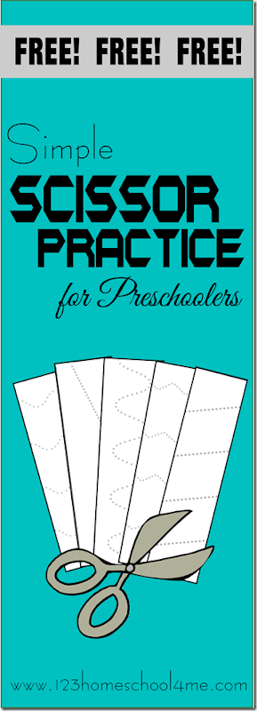 Simple Scissor Practice - This free printable will help toddler, preschool, and kindergarten kids develop confidence and coordination as they refine their fine motor skills.  #scissors #freeworksheets #preschool