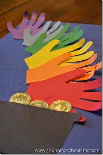 rainbow with pot of gold st. patricks day craft for kids