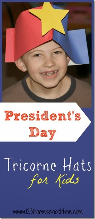 Cute Tricorn Hat to Make for Presidents Day- Super cute and easy to make Tricorn hats Kids Activity #presidentsday #tricornhat #revolutionarywar #presidents #georgewashington