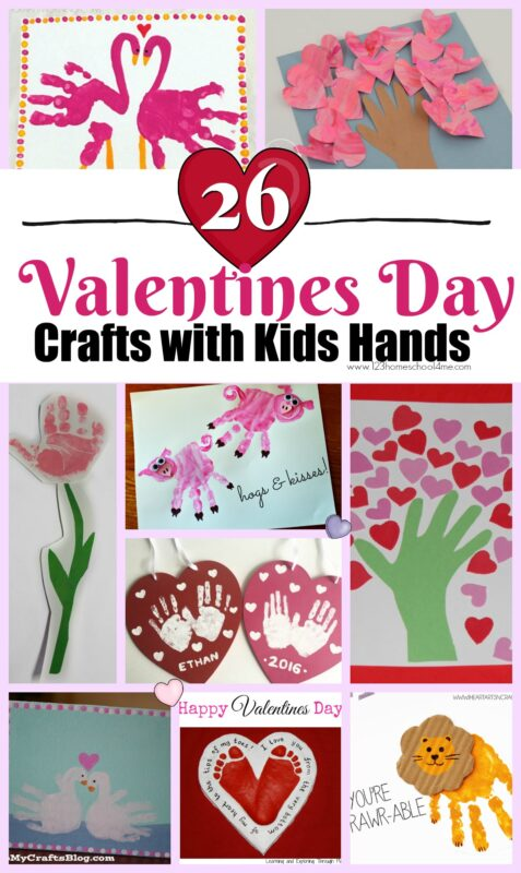 26 Valentine's Day Crafts with Kids Hands -  adorable hand art projects for kid to make this February! LOVE these! #valentiensday #craftsforkids #handartprojects